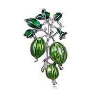 ingrosso spilla verde oliva-Nuovo smalto verde olive spille da donna e lega di uomini pianta pin spilla borsetta da ragazza cappello broche regalo