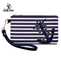 sacs à main bleu ancre achat en gros de-Bleu marine Stripe sacs d'ancrage nautique pour les femmes 2018 bourse Wristlet Zipper Coin poche téléphone sac de soirée sac d'embrayage # 789765