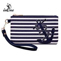 anker blau handtaschen großhandel-Marineblau Streifen Seeanker Taschen für Frauen 2018 Geldbörse Wristlet Reißverschluss Münzbeutel Handy Abendtasche Clutch Handtasche # 789765