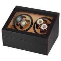 шкафы для хранения наручных часов оптовых-UK Plug Автоматические Механические Часы Winders Черный 4 + 6 Коллекция Наручные Часы Дисплей Коробка Роскошные Тихие Двигатели Хранения Часы Winding Boxes