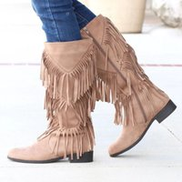 Wholesale shoes boho resale online - Fashion Winter Boots Boho Fashion Flock Leather Women Shoes Fringe Flat Heels Long Boots Woman Tassel Knee High Size