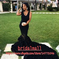 Wholesale mermaid dresses for sale - Group buy Black Satin Mermaid African Prom Dresses With Hand Made Flowers Sexy V Neck Formal Evening Gowns Court Train Party Celebrity Dress Pageant