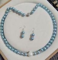 colar de pérolas azul claro venda por atacado-FREE SHIPPIN + + 8 MM luz azul Shell pérola colar brincos conjunto de jóias