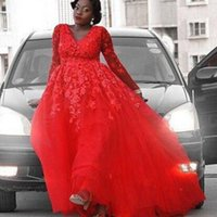 Wholesale lace sheer straps v neck resale online - 2019 Trendy Plus Size Red A Line Bride Dresses with Long Sleeves Sexy V Neck Lace Wedding Dress Tulle Floor Length Formal Party Gown