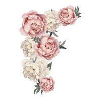 dormitorio de peonía al por mayor-Flores de peonía etiqueta de la pared de vinilo autoadhesiva Flora arte de la pared acuarela para la sala de estar dormitorio decoración para el hogar