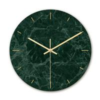impresión uv acrílico al por mayor-Reloj de pared de mármol de lujo ligero material acrílico reloj de impresión UV decoración de dormitorio de sala de estar