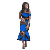 afrikanische drucke meerjungfrau kleider großhandel-Afrikanische Kleidung für Frauen Slim One-Shoulder Mermaid Abendkleider African Print Kleider mit gekerbtem Ausschnitt Ankara