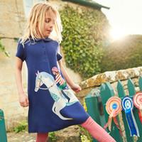 bebek kızları yaz pamuklu elbiseleri toptan satış-Çocuk Unicorn Prenses Giyim 2019 Yeni Yaz Bebek Giyim 100% Pamuk Çocuklar Kızlar için Elbiseler Parti Elbise Çocuk Giyim