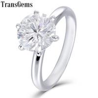 ingrosso anello solitario impostazione oro bianco-Transgems Solid 10k White Gold 1.5ct 7.5mm Round F Colore Moissnaite Anello di fidanzamento per le donne Low Crown Impostazione Solitaire Anello Y19032201