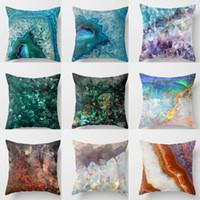 Wholesale pillow case art resale online - Print Art Cushion Cover MediterraneanNavy Blue Gamer Chair Pillow Case for Sofa Soft Retro Marble Geometric Sea Ocean Turquoise