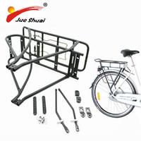 bisiklet rafı aksesuarları toptan satış-Ayarlanabilir 26 inç 28 inç 700C Bisiklet Bagaj Rafı Siyah Çift Katmanlı e Bisiklet Bisiklet için Pil Arka Taşıyıcı bisiklet aksesuarları