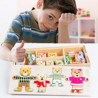 brinquedos educativos ursinhos venda por atacado-[TOP] Teddy Bear Mudança de roupa de madeira Toy Puzzles Montessori Vestido Educacional Mudança Jigsaw DIY enigma brinquedo montar brinquedo