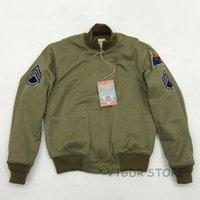 patchs armée vintage achat en gros de-Manteau vintage en fourrure d'hiver de l'armée américaine par Bob Dong Fury Tanker Patch Jacket pour hommes