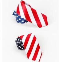 Wholesale mens skinny necktie for sale - Group buy USA American Flag Ties neck tie Red White Blue Skinny Neckties Mens Stage performance Neck Suit Tie GGA1652