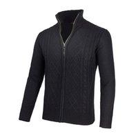 sweater sweater venda por atacado-VOBOOM Mens Knit Quarter Zip Sweater Homens Cardigans Primavera Inverno gola de lã Mistura Zipper Up Brasão 100