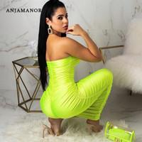 maxi uzun elbiseler sarı toptan satış-ANJAMANOR Neon Sarı Dantelli Straplez Uzun Maxi Bodycon Bandaj Elbise Plaj Parti Kadınlar için Seksi Trendy Yaz Giysileri D83-AC77