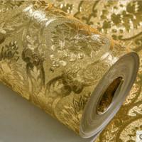 ingrosso carta da parati di lusso di oro-Luxury Classic Gold Wallpaper rotolo da letto Soggiorno Wall Paper Camera Relief damasco glitter sfondi lamina d'oro Papel de Parede