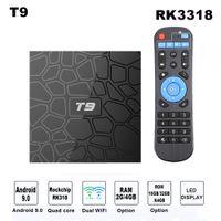 usb 5g venda por atacado-Android 9.0 CAIXA de TV Inteligente Caixa de TV T9 Quad Core 4 K Media Player 4 GB de RAM 32 GB / 64 GB ROM H.265 2.4G / 5G WIFI USB 3.0 TV Box Set Top Box