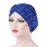 Wholesale cancer beanies resale online - Muslim Women Silky Cross Cotton Bead Turban Hat Cancer Chemo Beanies Cap Headwear Wrap Plated Hair Loss Accessories