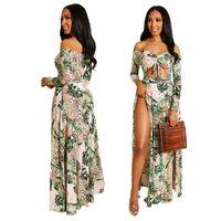 longitud del piso vestidos de damas al por mayor-Diseñador de verano para mujer Vestidos 2019 Marca Flora Impreso Dividir Hollow Out Vestidos Vestidos de verano Sexy Styel Vestidos largos hasta el suelo