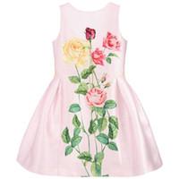 x vestido sin espalda al por mayor-Girls Yellow X Pink Roses Dress 2019 Kids Princess Vestidos de fiesta para niñas Girl Summer Backless Dress For 110-150cm
