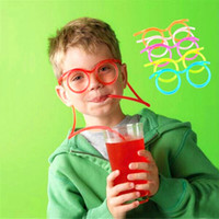 Wholesale kids flexible for sale - Group buy Creative Fun Child Glasses Straw Soft Plastic Straw Glasses Flexible Drinking Straws Tube Tool Kid Party Supplies Bar Accessories VT1694