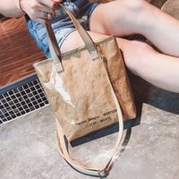 Wholesale polyester drawstring bags resale online - Fashion Kraft Transparent Bag with Letter Summer Travel Waterproof Tote Bags Female Beach Crossbody Bag Shoulder Bags