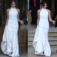 Wholesale soft elegant wedding dress for sale - Group buy Elegant White Mermaid Wedding Dresses Prince Harry Meghan Markle Wedding party Gowns Halter Soft Satin Wedding Recept Dress
