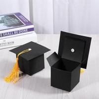 ingrosso favoriscono scatole per la laurea-24Pcs Graduation Cap Shaped Gift Box Candy Sugar Chocolate Box Favore di partito Decorazioni per il bambino Regalo