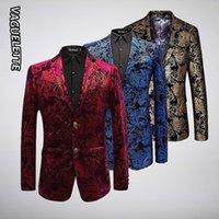 mavi çiçek ceketi toptan satış-Lüks Kadife Desen Blazer Erkekler Paisley Çiçek Ceketler Şarap Kırmızı / Altın / Mavi erkek Sahne Ceket Zarif Düğün erkek Blazer M-6XL