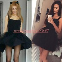 Wholesale white cocktail dress tulle skirt resale online - Fashion Tulle Short Homecoming Dresses Litter Black Dress Skirt Knee Length Cheap A Line Short Prom Dress Juniors Cocktail Party Club Wear