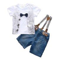 denim-gurt-shorts groihandel-Baby-Sets Jungen Strap Suit Kinder Denim Shorts Baby-Kleidung Sets Anzug Bogen Rundhals Kurzarm Sets 41