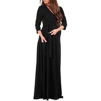 hamile kadınlar sıcak elbiseler toptan satış-Sıcak Satış Yeni Hamile Kadın Moda Wrap Annelik Zarif Elbise 3/4 Kollu Ayarlanabilir Kemer Çok fonksiyonlu Elbise baju kurung