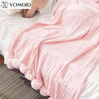 Wholesale bedding for queen size beds for sale - Solid Color With Ball Blanket For Beds Soft Cotton Blankets Girl Bedding Warm and Cute Nap Bedspread Sizes Avaliable