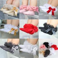 ingrosso le ragazze infantili merlettano i calzini-0-6T capretti delle ragazze dei bambini increspano i calzini il tutu del filato i calzini dell'arco del merletto dell'infanzia infanti i calzini di dancing della principessa dei bambini