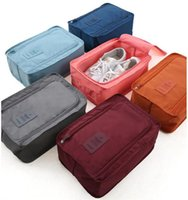 Wholesale double layer makeup bag resale online - Portable Waterproof Shoe Box Nylon Double Layer Shoes Storage Dustproof Shoe Bags Clothing Makeup Tool Sorting Organizer Zipper Pouch E22709