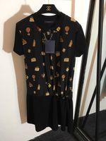 robe à imprimé sac achat en gros de-Milan Runway Dress 2019 Printemps Été O Cou À Manches Courtes Sac Lambrissé Imprimer Designer Dress Marque Même Style Dress 022806WL