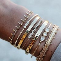 Wholesale baroque jewelry sets resale online - GIVVLLRY set Crystal Cuff Bracelets Fashion Jewelry Punk Ethnic Baroque Gold Geometric Wide Cuff Bangles Set for Women