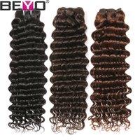 tiefe welle reines haar pcs großhandel-Malaysian Deep Wave Hair Bundles 100% reines unverarbeitetes Menschenhaar Bundles Remy Haarverlängerung # 2 / # 4 / natürliche Farbe 3 4 Pcs Lot Beyo