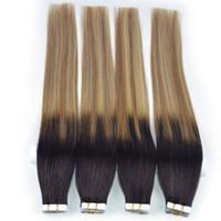 atkı insan saçı paketi toptan satış-Remy Saç 100% İnsan Saç Uzantıları bant yılında 20 adet / paket Bant Saç Cilt Atkı 50g