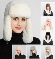 chapéu do bombardeiro da pele do falso venda por atacado-9 cores Womens Earcuff Chapéus inverno quente Earmuffs Engrosse agitou-Ear Hat Female Faux Fur Bomber Chapéus MMA2953-A1