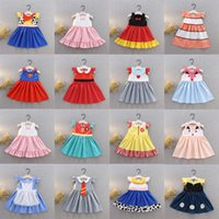 prinzessin tier kostüme großhandel-Kinder Mädchen Cartoon Prinzessin Kleider 19+ Ärmellose Fliege Dot Tiere Gedruckt Plissee Kleid Kinder Designer Mädchen Kleidung Party Kostüm 1-6 T