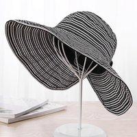 304308c44fc30 Sombrero de ala ancha de verano Sombrero de sol Mujer Primavera Verano  Nueva sombrilla Mujer Versión coreana Sombreros Rayas Gran ala Sombrero de  protección ...