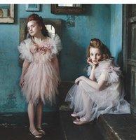 vestidos de tutú de plumas de bebés al por mayor-Venta al por menor 5395 flor de la princesa traje de la princesa del tutú vestidos de niña del banquete de boda del verano vestidos de los niños para las niñas ropa de niña
