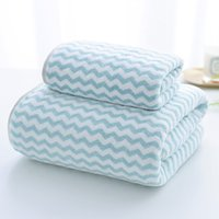 Wholesale towels velour resale online - 2 Pieces Velour Stripe Bath Towel Set Highly Absorbent Quick Drying Soft Bath Towel Hand Towel Set