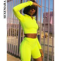 fluorescente shorts mulheres venda por atacado-Moda Fluorescente Cor Treino Mulheres Two Piece Set Top e Calças Suor Ternos Motociclista Shorts Basculadores Conjuntos Sexy Skinny Ternos
