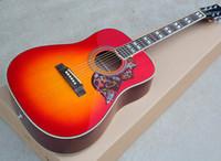 Wholesale fret acoustic guitar online - Cherry Sunburst inch Folk Acoustic Guitar with Rosewood Fretboard Flower Pickguard Frets offering customized services