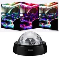 ingrosso lampade a sfera di discoteca-USB mini discoteca del DJ sfera di cristallo della luce RGB Atmosfera Protable LED luci dell'automobile LED della fase della lampada RGB colorato lampada auto