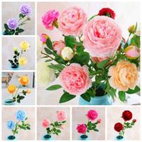 ingrosso giardinaggio peonies-65 cm fiori artificiali peonia tre teste flower garden wedding party decor simulazione finto testa di fiore regalo di natale regalo favore ffa2332
