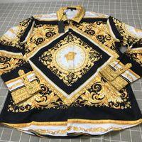herren-dressing-styles lässig großhandel-Großhandel Verschiedene Stile Druck Mens Designer Dress Shirts Mode Lässige Medusa Hemd Heißer Verkauf Männer Silk Shirt